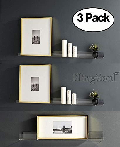 Heavy Duty Clear Floating Shelf Set, (3 Pack) 15 Inches Acrylic Bathroom Shelves, Shower Caddy, Bedside Shelf, Nail Polish Women Makeup Organizer, Spice Rack Kids Room Wall Decor Display Bookshelf'