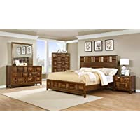 Roundhill Furniture Calais Solid Wood Construction Bedroom Set with Bed, Dresser, Mirror, Night Stand, Chest, Queen, Walnut