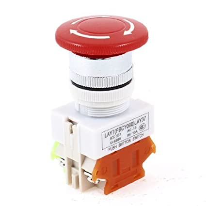 Amazon.com: DealMux 660V 10 Amp Red Mushroom Head 4 Terminal 1NC 1NO DPST emergência Chave Push Button: Home Improvement
