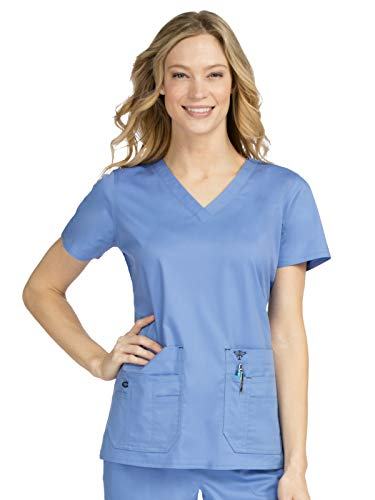 Scrub Couture Top - Med Couture Signature Women's V-Neck Flex-It Knit Panel Scrub Top Ceil/Navy XS