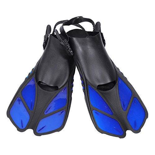 CAPAS Snorkel Fins, Snorkeling Fins Swim Fin Short Adjustable Diving Fins for Adult Men Womens Kids Scuba Diving Swimming Duck Feet Swim Travel Open Heel Flippers Snorkelling Fins (Blue, S/M) ()