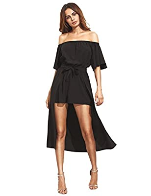 MakeMeChic Women's Off The Shoulder Short Sleeve Romper Party Dress