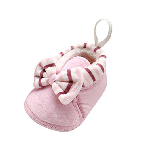 Neugeborenen Sohle Jamicy® Kleinkind Baumwollgewebe Babyschuhe Schuhe Jungen Nette Rosa Stiefel Weiche Warme Snow Bowknot Boots Mädchen A4wx7fq