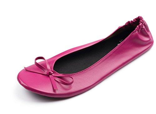 Silky Toes Mujeres Plegable Portátil De Viaje Ballet Plano Roll Up Zapatillas Zapatillas Megenta