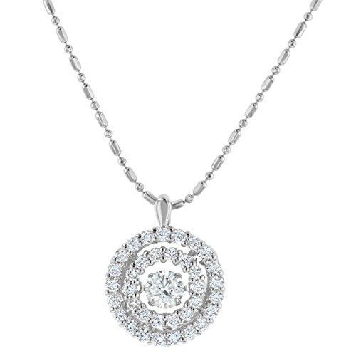 Olivia Paris 14k White Gold 1 Carat Ctw (H-I, SI2-I1) Dancing Diamond Pendant Necklace, 18