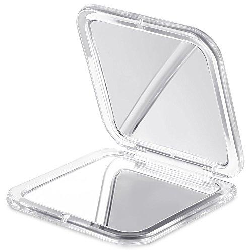 Jerrybox Espejo de Mano   Espejo Aumento con Doble Cara 10x / 1x para Maquillaje, Espejo de Bolsillo, Color Plateado
