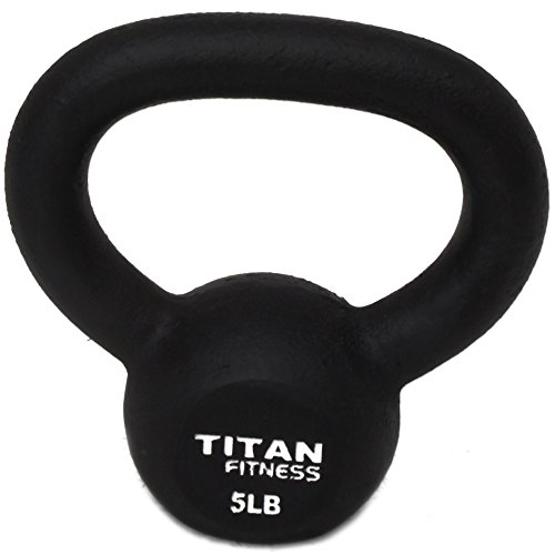 Titan Fitness Cast Iron Kettlebell Weight 5 Lbs Natural Solid Workout Swing