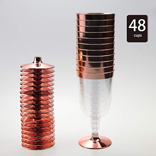 48 Pack Rose Gold Plastic Wine Cups 6 oz Disposable Wine Glasses - Hard Plastic Clear Wine Cups -Recyclable Unbreakable Wine Glasses for Wedding/Birthday/Christmas/New Year Parties (Rose Gold, 6 oz)