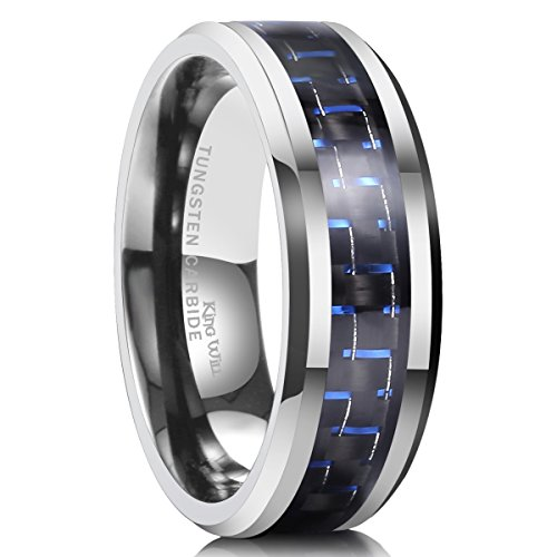 King Will 8mm Tungsten Carbide Wedding Band Ring Blue & Black Carbon Fiber Inlay Engagement  Size9.5