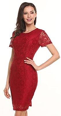 Zeagoo Women Short Sleeve Lace Dress Bodycon Casual Midi Dress Full Lace Dress