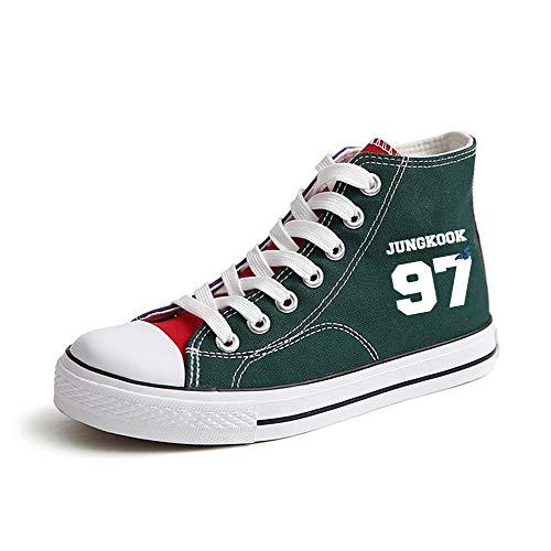 Lona Popular Alta Transpirables Con Ayuda Zapatos Pareja Cordones Green32 De Bts Fashion Ocasionales BT4S4U