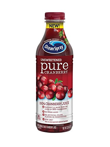 Ocean Spray 100% Juice, Unsweetened Pure Cranberry, 1 Liter Bottle