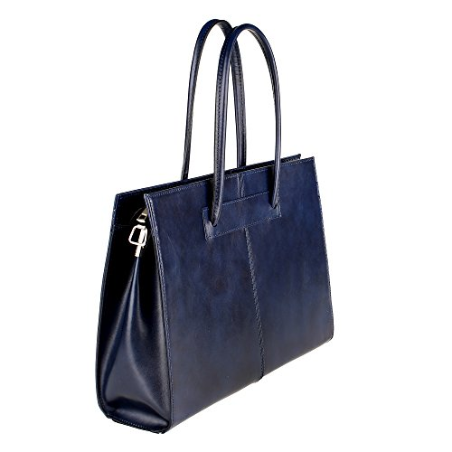 Borse Con Donna Chicca Tracolla Pelle In A Da Blu Italy Borsa 39x30x11 Vera Portadocumenti Mano Cm Made wqT0Bq