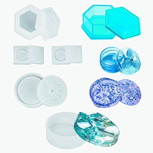 HOMEIDOL 5Pcs Jewelry Box Silicone Molds - Sakura Hexagon Resin Casting Molds,Medium Size Trinket Box Stash Box Molds with Lid and 2Pcs Cute Mini Clear Silicone Molds]()