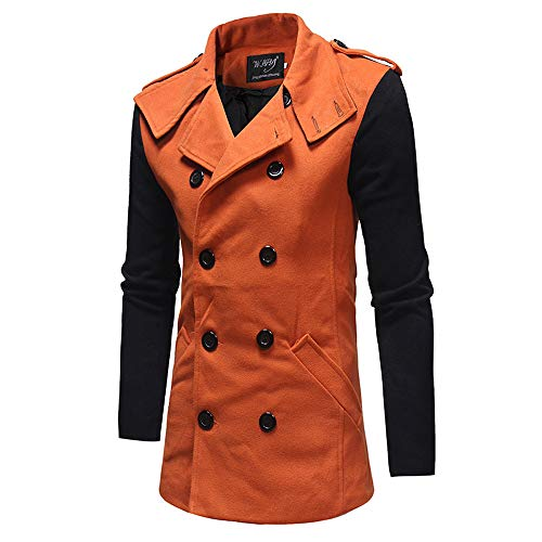 Clearance!Men' Collision Double Breasted Coat Woolen Contrast Color Pea Outwear Slim Trench