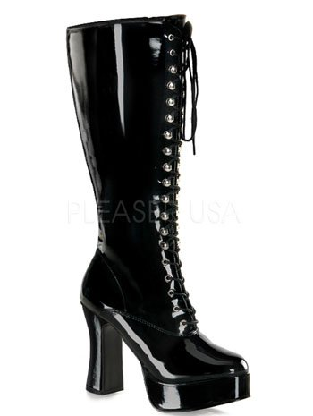 Lace Up Boot BBW Wide Chunky High Knee Black Width tqOnx4E