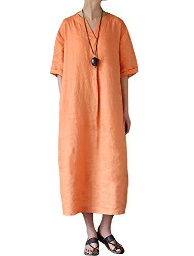 LeinenKleid Orange Kleid Maxikleider MatchLife Sommer Vintage Einfarbig Kaftan Casual Damen OqEq1zB