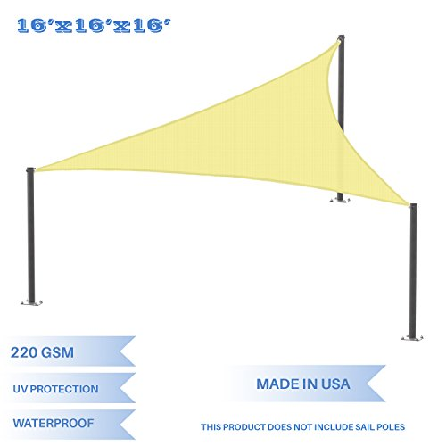 E&K Sunrise 16' x 16' x 16' Waterproof Sun Shade Sail-Canary Yellow Equilateral triangle UV Block Durable Awning Perfect for Canopy Outdoor Garden Backyard-Customized Sizes Available by E&K Sunrise