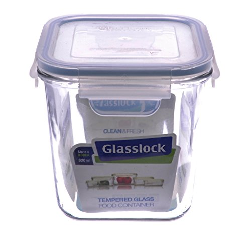Glasslock RP530 Square Mircrowave Oven Safe Food Glass Container, 920-ML (31-Ounce or 4-Cups)