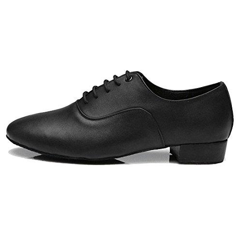 SanSha Men's Soft Sole 1 Inch Heel Leather Lace Up Dance Shoes Modern Dance Shoes (9 UK, Black)