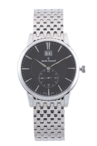 Claude Bernard Men's 64005 3M NIN Classic Gents Black Dial Stainless Steel Date Watch