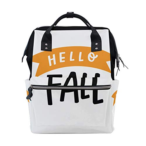 (Hello Autumn Fall Harvest Season Large Capacity Diaper Bags Mummy Backpack Multi Functions Nappy Nursing Bag Tote Handbag for Children Baby Care Travel Daily)
