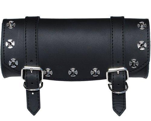 Black Cross Saddlebags Iron - La Rosa Design Universal Front Fork Tool Bag - Black w/ Iron Cross Spikes