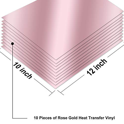 "ARHIKY Heat Transfer Vinyl HTV Bundle: 10 Pack Rose Gold 12""x10"" Sheets for DIY Iron On T-Shirts Fabrics"
