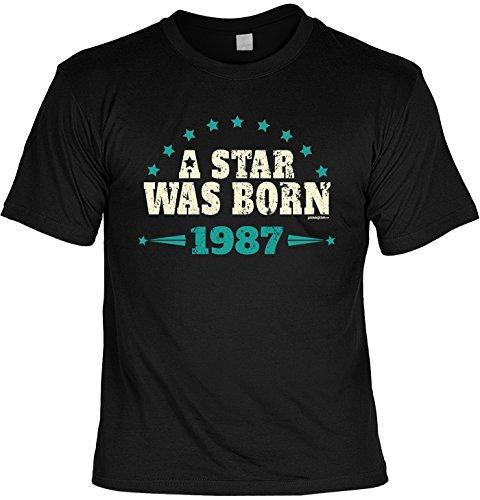 T-Shirt - A Star was born 1987 - lustiges Sprüche Shirt als Geschenk zum 30. Geburtstag