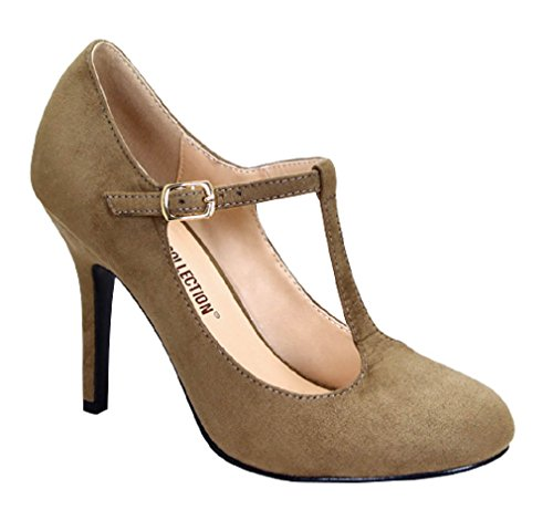 Journee Collection Womens Sueded T-strap Round Toe Pumps Nude Beige XF1tFd