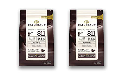 Belgian Dark Couverture Chocolate Semisweet Callets, 54.5% - 2 Pack - 2 x 5.5 Lbs (2 pack) (2 bags, 2x5.5 lbs)