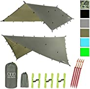 Gold Armour 12ft Extra Large Tarp Hammock Waterproof Rain Fly Tarp 185in Centerline - Lightweight Ripstop Fabr