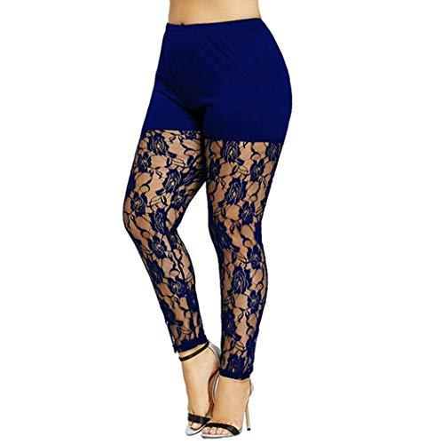 (Summersum Women Sexy Leggings Plus Size Stretch Floral Lace Splice Yoga Pants Tights Clubwear (Dark Blue, L) )