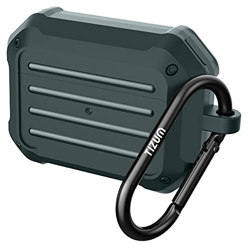 Tizum Z94 Tough Cover Case Compatible for Apple AirPods Pro – Shockproof Rugged Protective with Carabiner Hook (Military Green)