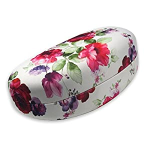 Rachel Rowberry Floral Sunglasses Case with eyeglass cleaning cloth in a unique Microfiber Smooth Finish | for Medium & Large frames (AS413 Cranberry Rose)