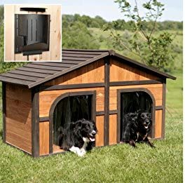 B G Solid Wood Construction Heated Extra Large Dog House for One or Two Dogs