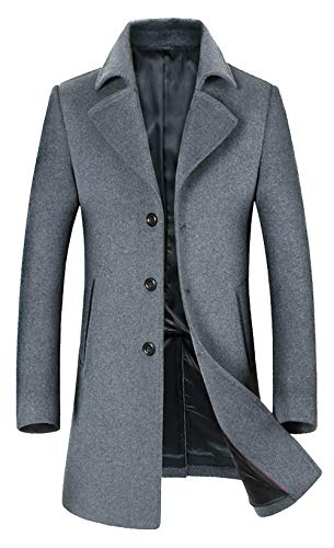 ELETOP Men's Wool Coats Single Breasted Trench Coat Windbreaker Jacket 1871 Gray XL