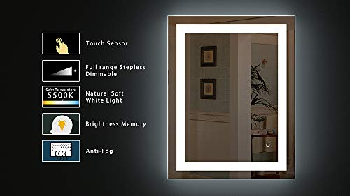 HAUSCHEN 36 x 28 inch LED Lighted Bathroom Wall Mounted Mirror with 5500K High Lumen + CRI>90 Cold White Lights and Anti Fog and Dimmable Memory Touch Button + IP44 Waterproof + Vertical & Horizontal by HAUSCHEN HOME (Image #4)