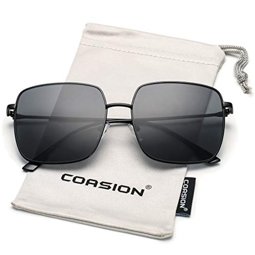 Glasses Black Frame Grey Lens - COASION Oversized Fashion Square Sunglasses for Women Designer Metal UV400 Sun Glasses (Black Frame/Grey Lens)
