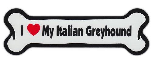 (Dog Bone Shaped Car Magnets: I LOVE MY ITALIAN GREYHOUND GRAYHOUND)