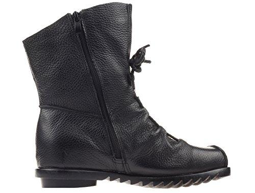 Mordenmiss Kvinna Dragkedja Läder Fotled Tåhätta Boot Stil 2-svart