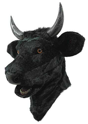 Forum Novelties Unisex-Adults Moving Mouth Mask-Bull, Black, Standard