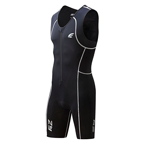 Men's Triathlon Suit, Trisuit Sleeveless, One-piece and Front Zip - Great Fit & Comfortable (Medium, - Wetsuit Sleeveless Triathlon