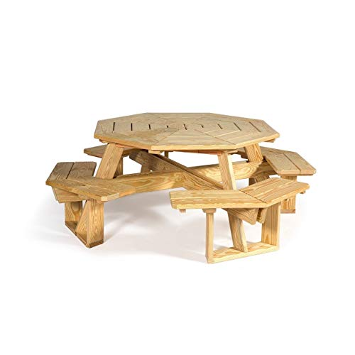 Overstock Pressure Treated Pine 5' Octagon Picnic Table Unfinished - Picnic Table Pressure Treated