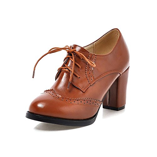Image of Odema Womens PU Leather Oxfords Brogue Wingtip Lace up Dress Shoes Chunky High Heels Pumps Oxfords