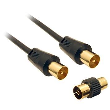 CDL Micro - Cable coaxial para TV (conectores macho, adaptador para conectores hembra, 3 m), negro: Amazon.es: Electrónica