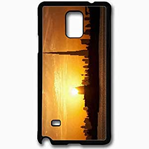 Unique Design Fashion Protective Back Cover For Samsung Galaxy Note 4 Case Dubai City Sunset Cities Black