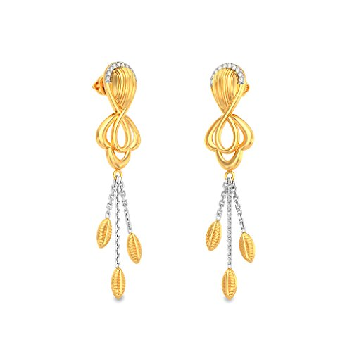 14 K Or jaune 0,1 ct tw White-diamond (IJ | SI) Pendants d'oreilles