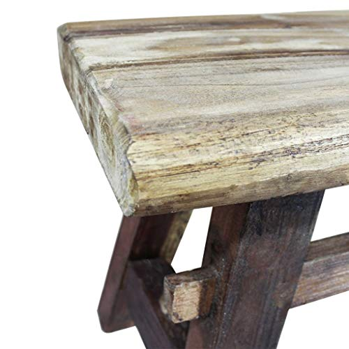 Festnight Vintage Wood Dining Bench, Antique Handmade Garden Dining Bench Furniture Solid Reclaimed Wood by Festnight (Image #3)