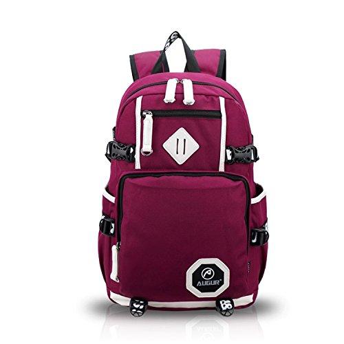 FANDARE Alpinista Mochila Backpack Para Ordenador Portátil 15.6'' Recorrido Morral al Aire Libre Viaje Ocio para La Escuela Bolso Mujeres Hombres Multifunción Lona Negro Rojo